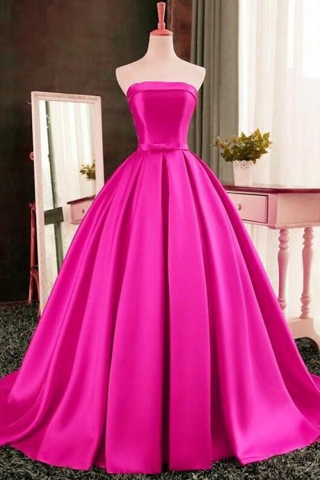 A-Line Satin Prom Dress,Strapless Prom Dresses,High Quality Graduation Dresses,Wedding Guest Prom Gowns, Formal Occasion Dresses,Formal Dress