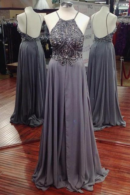 Spaghetti Straps Prom Dress,Grey Beaded Prom Dresses,Evening Dress,High Quality Graduation Dresses,Wedding Guest Prom Gowns, Formal Occasion Dresses,Formal Dress, long evening dresses, party dresses
