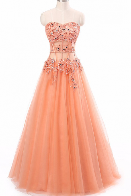 Long Prom Dress Coral Appliques See Through Corset New Arrival Formal Dresses Party Gowns Vestido De Festa, long evening dresses, party dresses