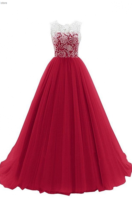 Sleeveless Lace Long Evening Dress, Prom Gown ,Prom Dresses, long evening dresses, party dresses