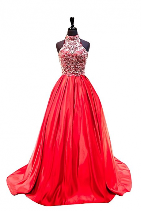 Two Pieces A Line Beading Satin Prom Dress ,Prom Dresses, long evening dresses, party dresses