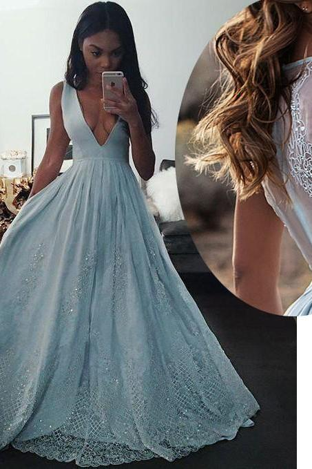 Elegant V Neck Sky Blue Sleeveless Prom Gown with Lace,Long Prom Dresses,Formal Dress,Prom Dresses, long evening dresses, party dresses