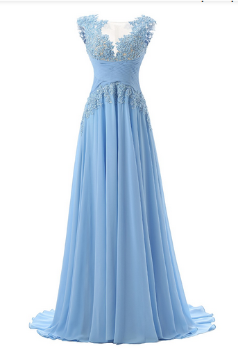 Blue Floor Length Chiffon A-Line Prom Dress Featuring Lace Appliqués Plunge V Illusion Cap Sleeves Bodice, Ruched Detailing and Illusion Open Back