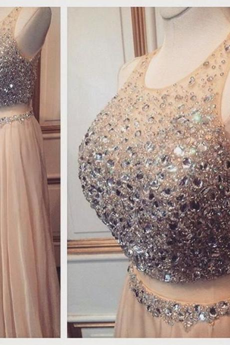 Elegant Prom Dresses,Sexy Two Piece Prom Dresses,Sleeveless Luxury Crystal Two Piece Prom Dress,Halter Prom Gown,Long Evening Dress