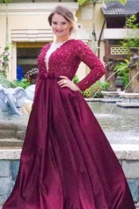 Satin Prom Gowns,Long Sleeve Prom Dresses,Burgundy Prom Dress,Prom Dresses with Pearls Beaded, Prom Dress Full Sleeve, Lace Prom Dress