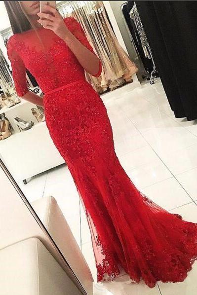 Half Sleeves Evening Dresses,Red Dubai Abaya Mermaid Evening Dress,Scoop Appliques Prom Dresses,Beaded Celebrity Dress Formal Dress Vestido De Festa,Graduation Dresses,Wedding Guest Prom Gowns, Formal Occasion Dresses,Formal Dress
