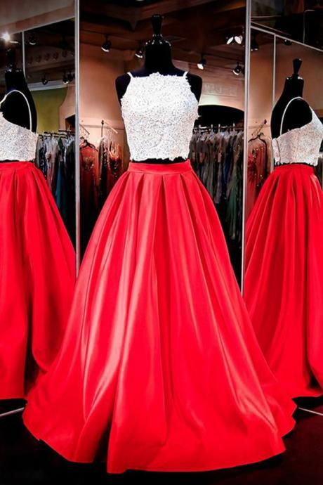 Gorgeous Two-piece Square Neck Prom Dresses,Red Floor-Length Prom Dress with Lace,Cheap Prom Dress,Evening Gowns for Teens,Wedding Guest Prom Gowns, Formal Occasion Dresses,Formal Dress