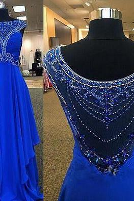 Royal Blue Prom Dress Long Party Dress,Beaded Prom Dress,Handmade Prom Dress,Sequin Prom Dress, Dress for Prom