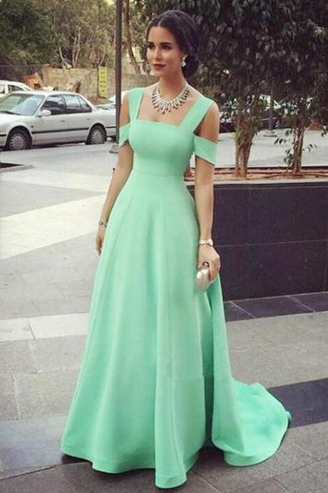 Mint Green Prom Dresses,Off The Shoulder Prom Dress,Maxi Prom Dress,Fashion Prom Dress,Sexy Party Dress, New Style Evening Dress