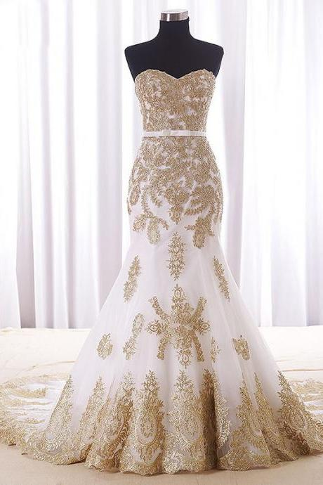 Real Wedding Dress,Gold Lace Appliques Bridal Dresses,Court Train Elegant Mermaid Wedding Dress,Lace Evening Gowns,New Evening Dresses
