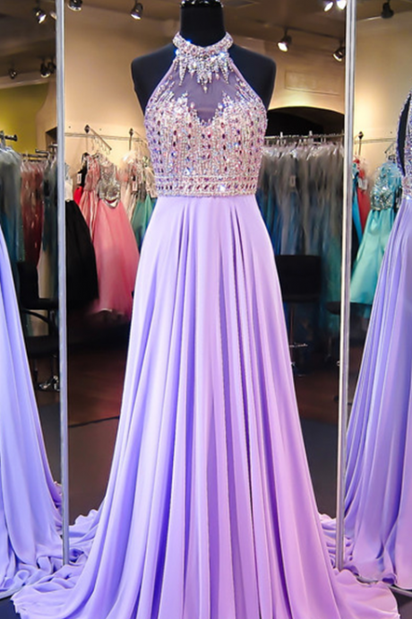 Prom Dresses,Modern Halter Crystals Evening Dress Chiffon Sleeveless A-line Sweep Train Prom Dress