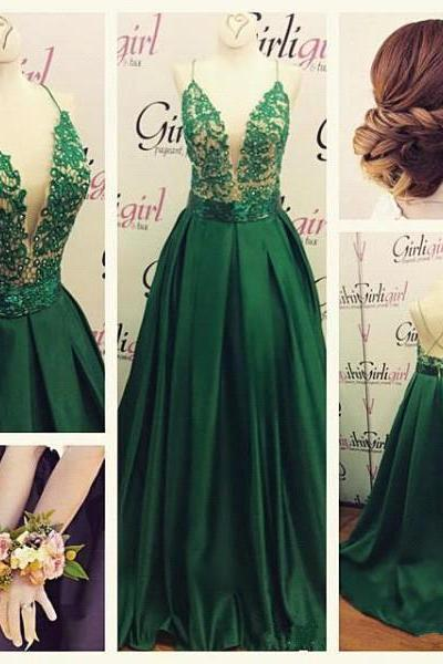 Gorgeous Green Prom Dresses,Spaghetti Straps Evening Dress Long Lace Appliques