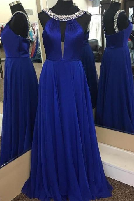 royal blue prom dress,halter prom dress,long chiffon prom gowns,sexy long evening dress