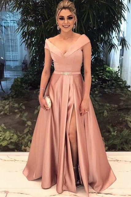 v neck bridesmaid dress,champagne bridesmaid dress,long formal dress,satin prom gowns,sexy prom dresses