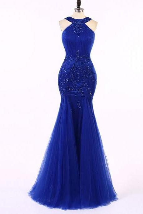 Royal Blue Mermaid Evening Dress Slim Beaded Sequined Sweep Train Formal Dress Evening Party
