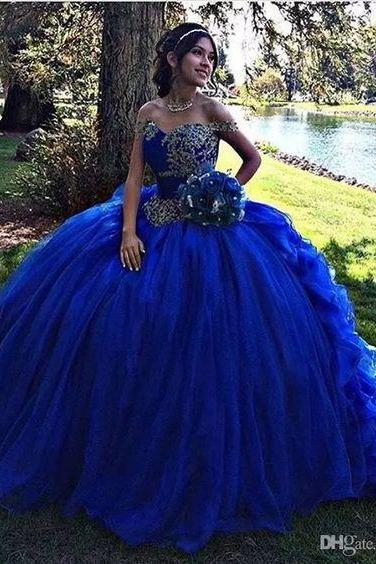 Charming Royal Blue Prom Dress,Beaded Corset Off The Shoulder Sweet 16 Dress Quinceanera Dresses