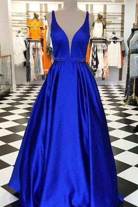 royal blue formal dresses,long prom dresses,a line prom dresses,simple prom dresses,beaded prom dresses