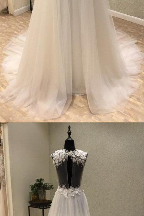 Elegant v-neck wedding dresses,white tulle wedding dress,long Bridal dresses