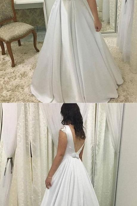 White A line wedding dress,satin long prom dress, white evening dress