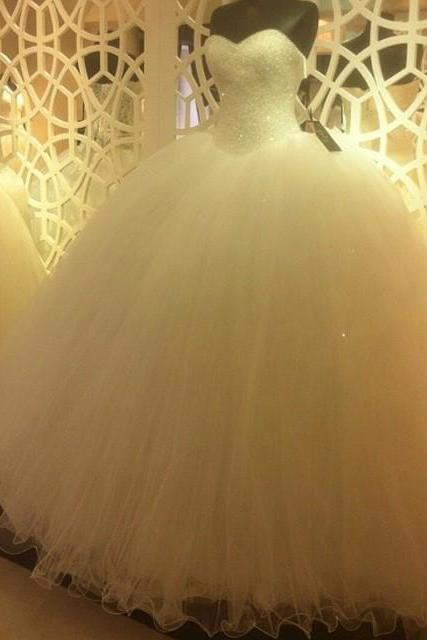 Sparkly Sequins Beaded Wedding Dress,Sweetheart White Organza Ball Gowns, Wedding Dresses,Long Evening Dresses