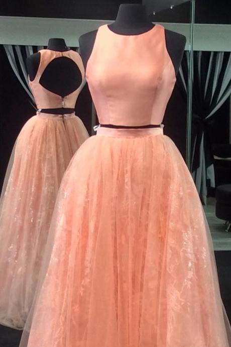 Open Back Dress,Ball Gowns Dress,Two Piece Prom Dresses,Elegant Lace Prom Dress , Long Evening Dresses