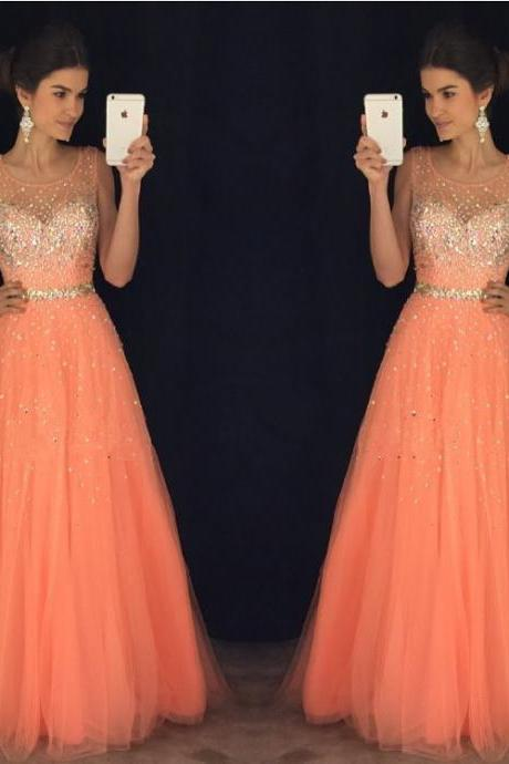 New Arrival Prom Dress,Modest Prom Dress,coral prom dresses,cap sleeves prom gowns,long evening dress,beaded prom dresses