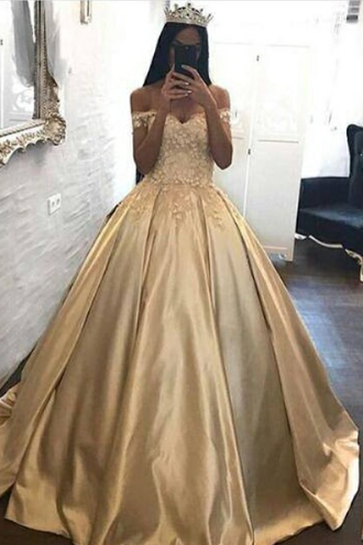 Long Floor Length ball gown quinceanera dresses Evening Dresses Flowers Glamorous Prom Dress Off the Shoulder Graduaction Dresses