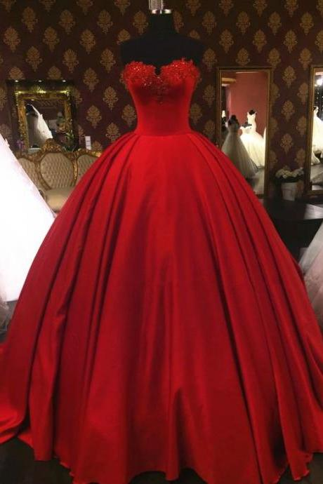 lovely sweetheart red wedding dresses ball gowns,vintage wedding gowns,satin wedding dress,sexy wedding dresses,Long Bridal Dresses