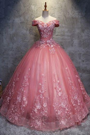 Prom Dresses,Pink Lace Quinceanera Dresses, New Ball Gown Prom Dress, Formal Party Gowns ,Quinceanera Dresses