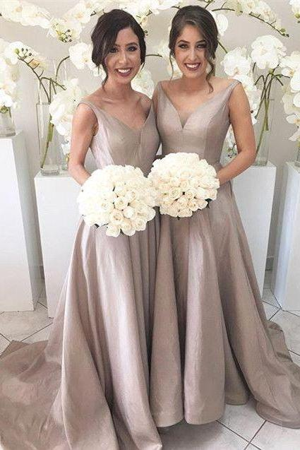 long gray bridesmaid dresses, A-line bridesmaid dress,cheap bridesmaid Dress, sweep train bridesmaid dress, v-neck Bridesmaid Dress