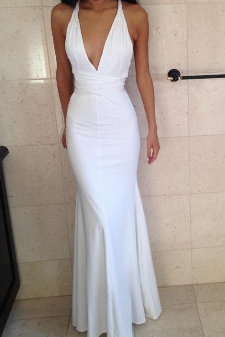 Fitted White Deep V Neck Mermaid Prom Dress, Formal Gown, Evening Dress