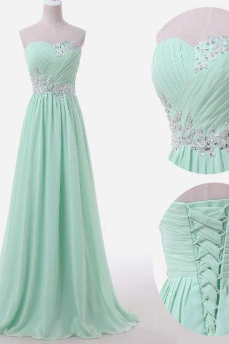 Mint Long Chiffon A-Line Prom Dress Featuring Ruched Sweetheart Bodice with Lace Appliqués, Beaded Embellishments and Lace-Up Back,Sexy Evening Gowns,Evening Gown,Party Dress,Satin Formal Gowns For Teens