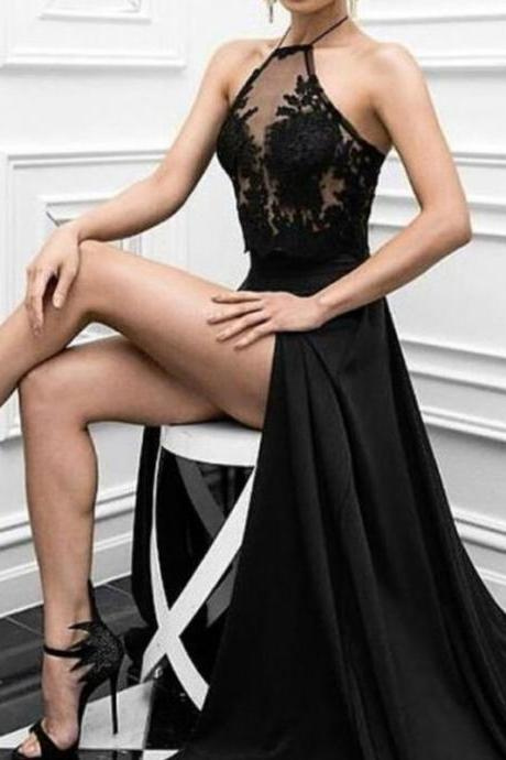 Elegant Sexy Prom Dresses, Black Prom Formal Dress, Sexy Slit Prom Dress, Black Prom Dresses, Charming Prom Dress, Long Formal Evening Dresses