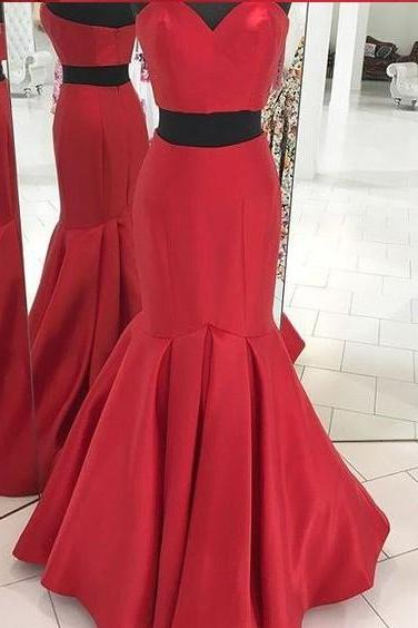 Two Pieces Prom Dresses, Red Prom Dress, Formal Evening Dress, Long Prom Dress, Senior Prom Dress, Prom Gown , Wedding Reception Dress