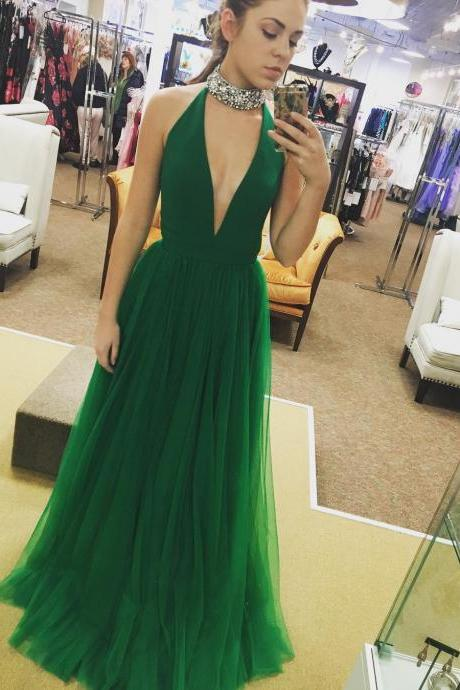 Green Deep V Neck Prom Dresses, Tulle Prom Dress, A-line Long Prom Dress, Green Prom Dress, Sexy Woman Evening Gown, Party Dress