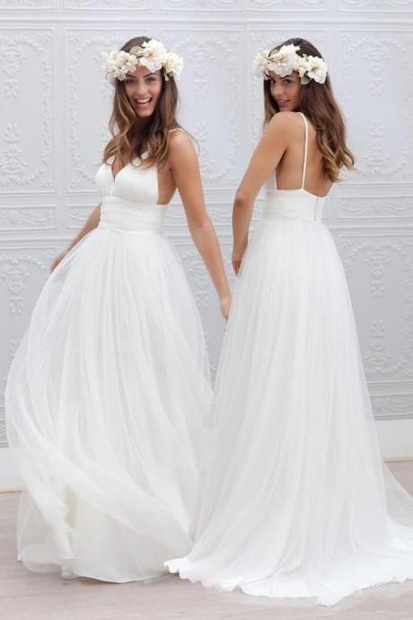 Simple V-neck Wedding Dresses,Floor-Length Wedding Dress With Ruched Sash, Summer Bridal Dresses, White Wedding Formal Dress, Beach Wedding Dress, Tulle Wedding Dress, Bride Dresses