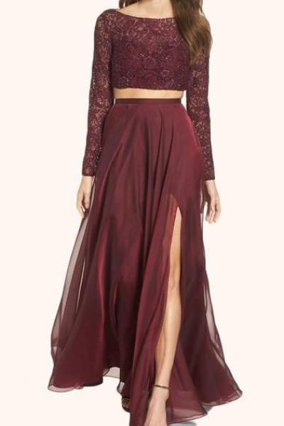 Burgundy Evening Gowns,2 Pieces Party Dresses,Burgundy Evening Gowns,Formal Dress For Teens