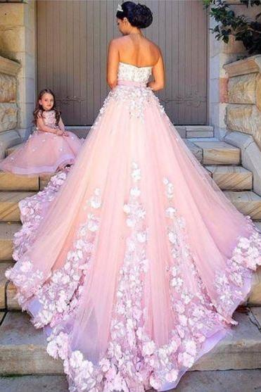 pink tulle wedding dresses, lace appliques wedding dress,ball gown wedding dresses,Bridal Dresses,Evening Gowns,Formal Gown For Teens