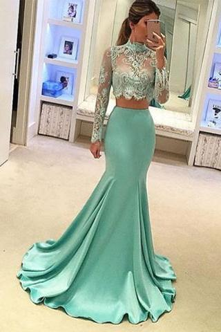 Mint Green Prom Dresses, 2 Piece Prom Gowns,2 piece Prom Dresses,Lace Prom Dresses,Prom Gown,Prom Dress With Lace For Teens,Prom Dresses,Evening Gowns,Formal Gown For Teens