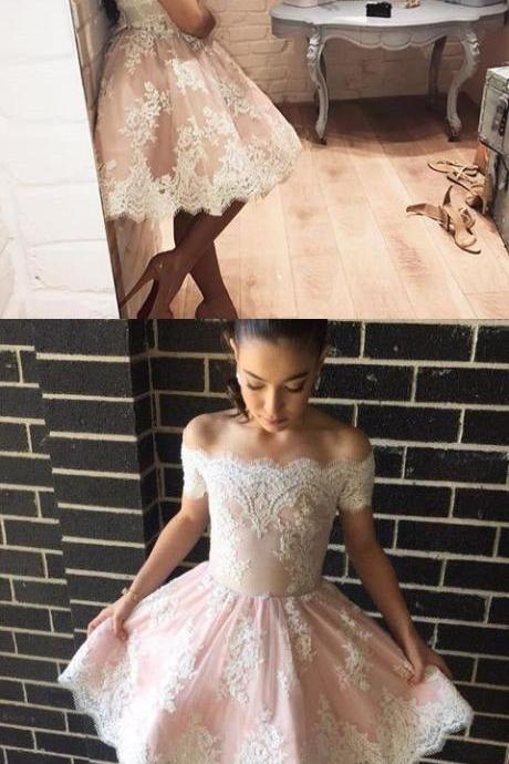 pink homecoming dress,short prom dresses lace,short graduation dressesal Gown,Prom Dresses,Evening Gowns,Formal Gown For Teens