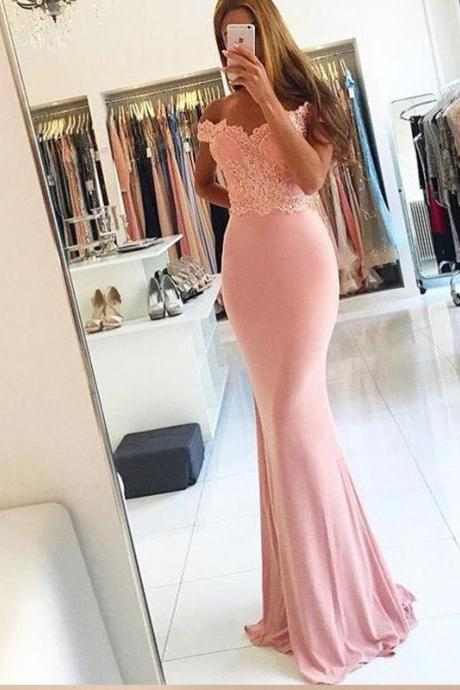 Beading Lace Sheath Cheap Long Sexy Off-the-shoulder Spandex Pink Evening Dresses,formal dress,sexy prom dress