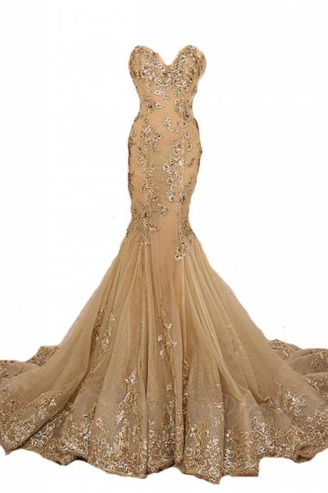 Mermaid Long Evening Gown, Gold Lace Appliques Prom Dress,Gold Lace-Up Sweetheart Prom Dresses,formal dress,sexy prom dress