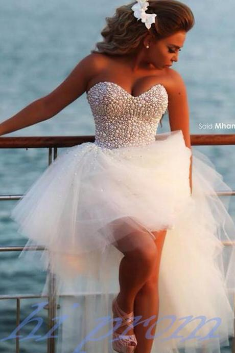 High Low Wedding Dresses,White Wedding Gown,Tulle Wedding Gowns,Sweetheart Bridal Dress For Summer Beach Wedding,Evening Dresses, Backless Prom Dress,formal dress,sexy prom dress