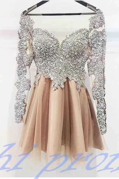 Vintage Homecoming Dress,Lace Homecoming Dress,Cute Homecoming Dress,Long Sleeves Homecoming Dress,Short Prom Dress,Champagne Homecoming Gowns,Sweet 16 Dress