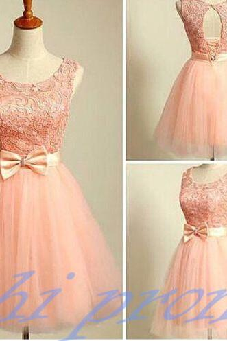 Blush Pink Homecoming Dress,Short Tulle Prom Dresses,Homecoming Gowns With Bow,Homecoming Dresses ,Winter Formal Dresses,Lace Graduation Dresses,Sweet 16 Gown