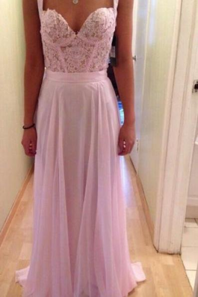 Pink Evening Gowns,Lace Formal Dresses,Prom Dresses With Straps,Fashion Evening Gown,Beautiful Evening Dress,Pink Formal Dress,Lace Prom Gowns