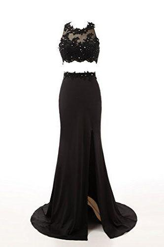 Beaded Prom Dresses,Beading Prom Dress,Black Prom Gown,2 Pieces Prom Gowns,Elegant Evening Dress,Split Evening Gowns,2 Piece Evening Gowns,Mermaid Lace Prom Dress