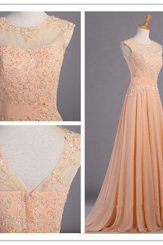 Sexy Prom Dresses,V neck Evening Dresses,New Fashion Prom Gowns,Elegant Prom Dress,Princess Prom Dresses,Chiffon Evening Gowns,Peach Formal Dress,Peach Evening Gown