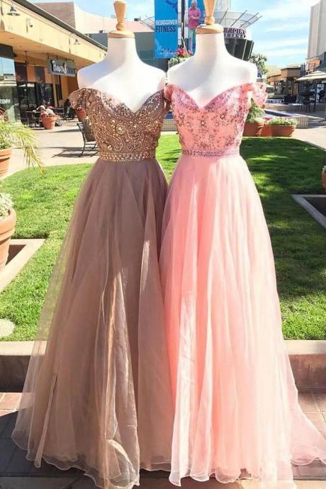 Shiny A-Line Off-Shoulder Pink Gray Tulle Long Prom Evening Dress with Beading,Floor-Length Prom Dresses