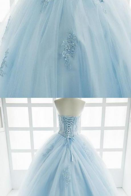 Princess ice blue tulle Prom Dress,high waist long sweet prom dress with appliqués, beaded long evening dress,Floor-Length Prom Dresses